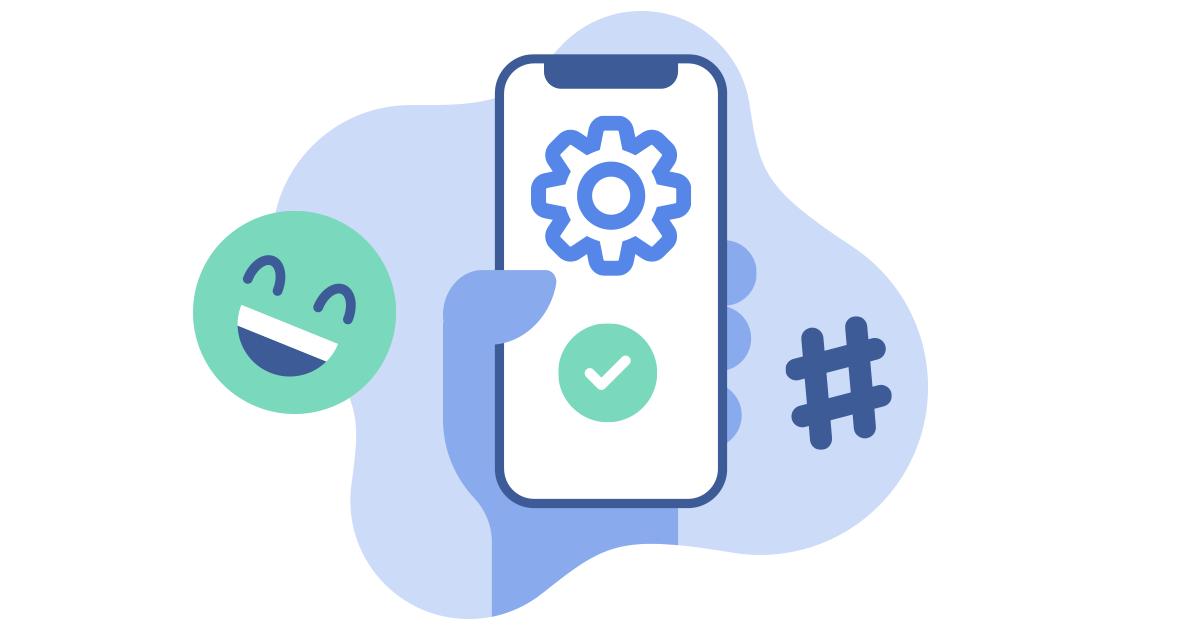 mão segurando um telefone com o ícone de configuração na tela e rindo emoji