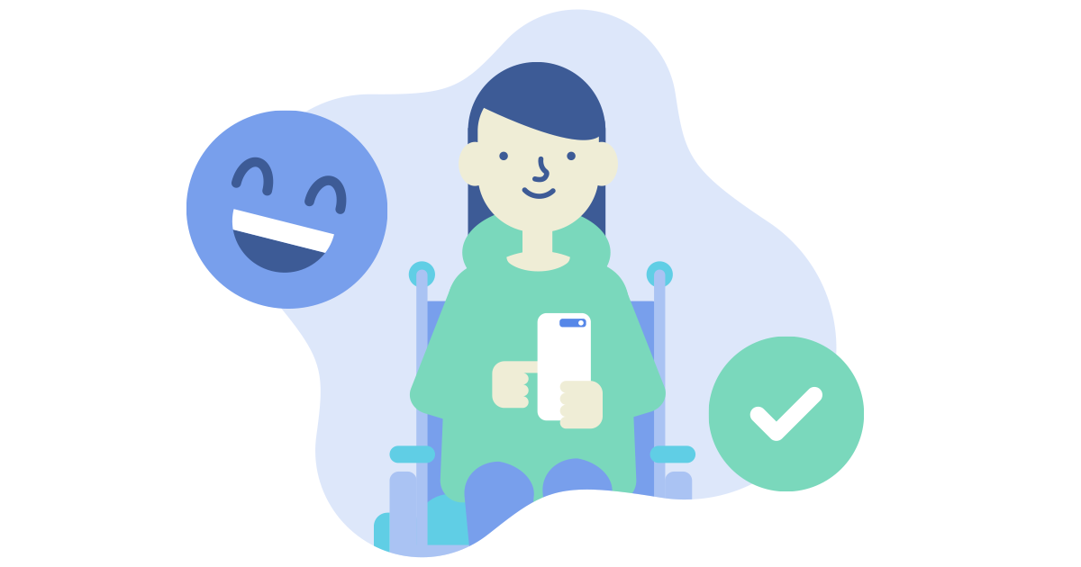 teen in wheelchair looking at phone with laughing emoji and tick icon