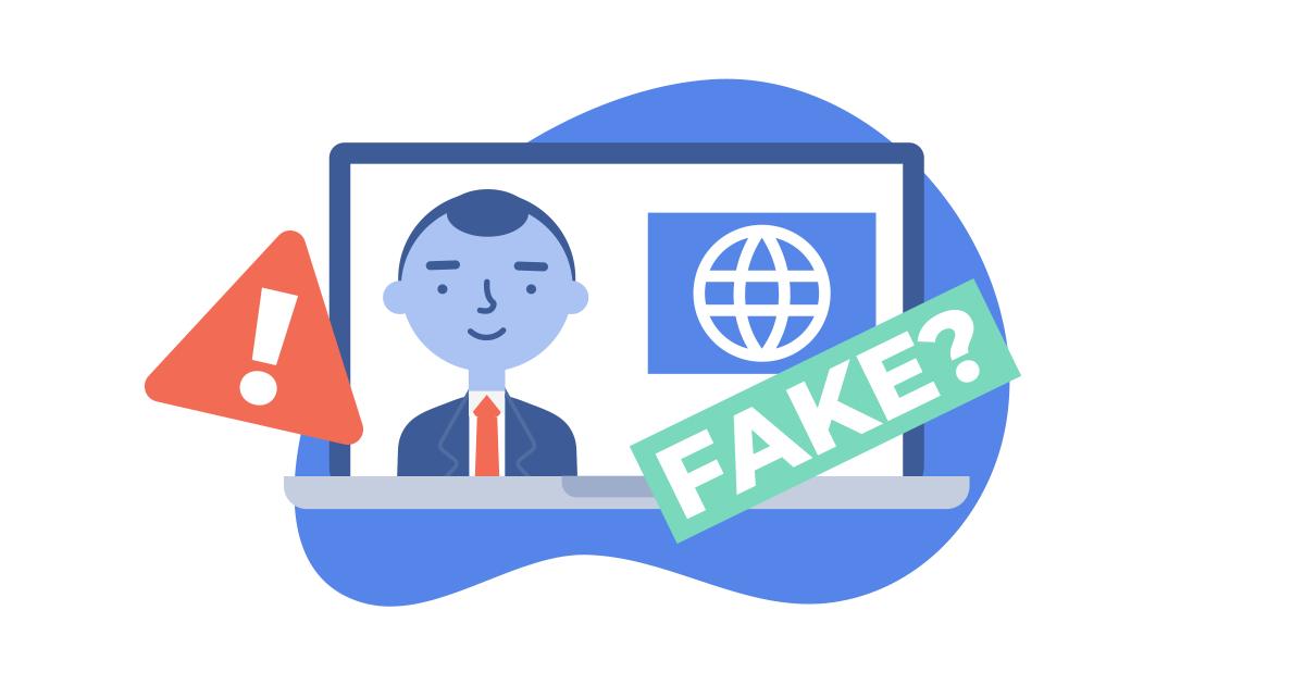 Icona di notizie false sul computer portatile