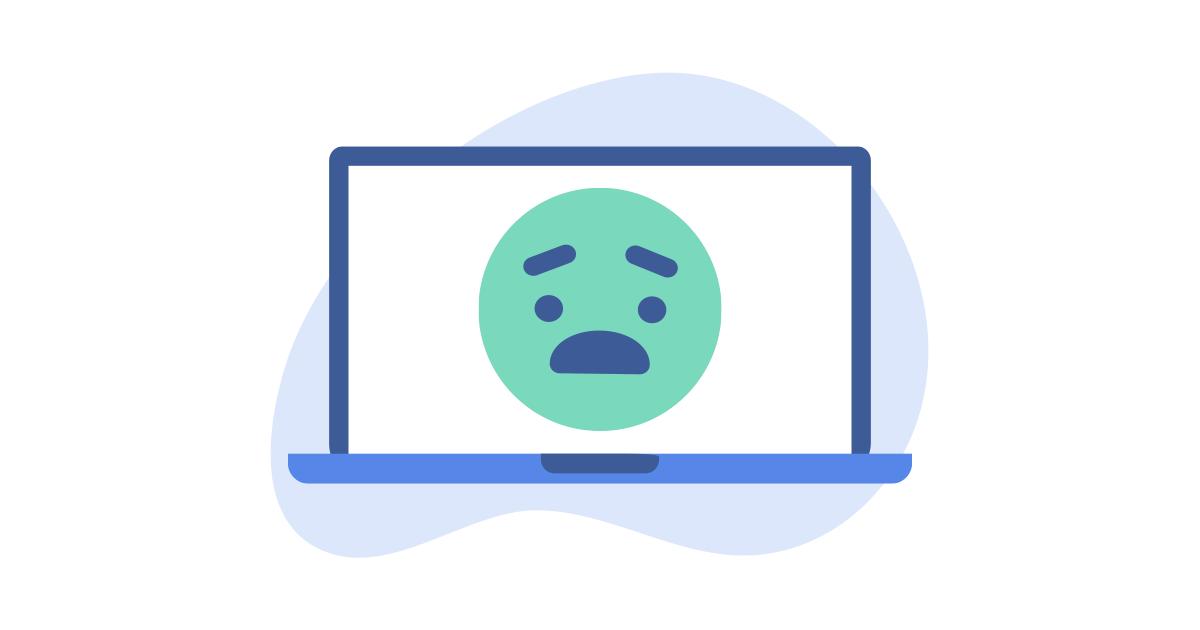 emoji preoccupato sullo schermo del laptop