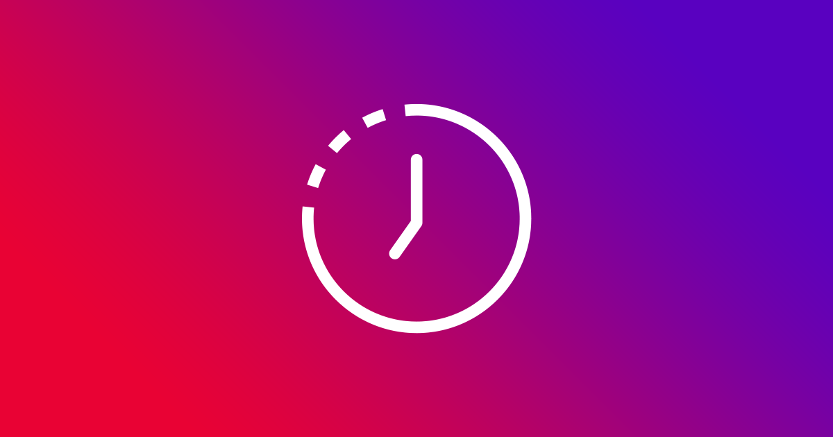 White clock icon on a colourful background