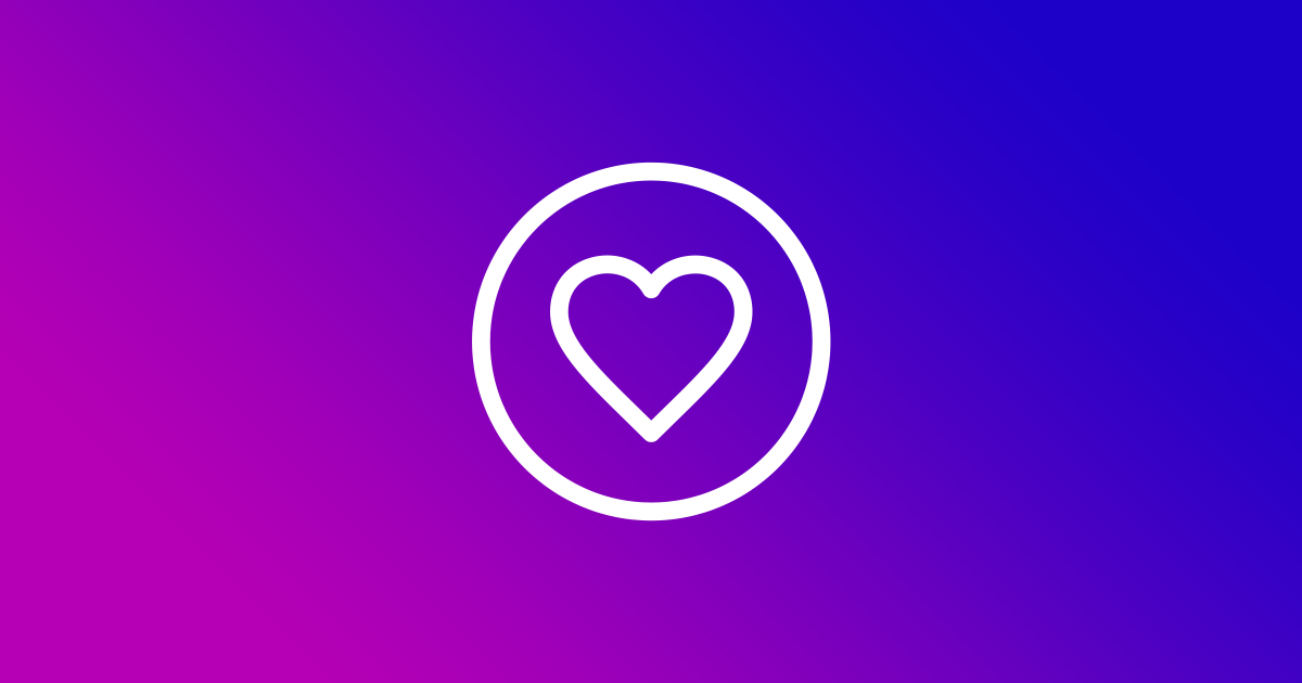 White heart icon on a colourful background